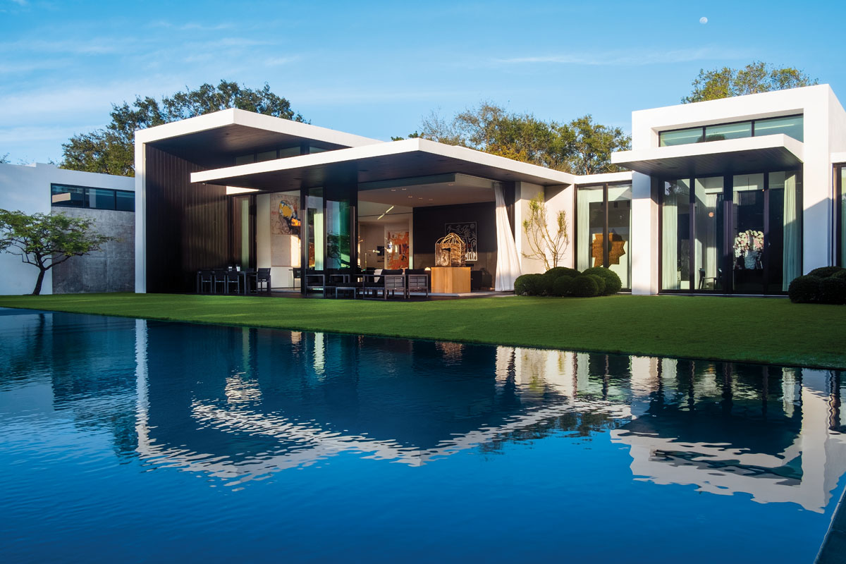Completed over the course of a year, MLB sports icon Alex Rodriguez' 11,877-square-foot home in Miami. With its pod-style architecture and overhangs that bespeak midcentury modernism, is laid out on one level so the interiors would connect directly to the grounds, blurring indoor-outdoor boundaries.
