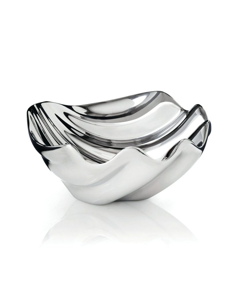 "Handcrafted from NAMBÉ alloy, the ""Sea Shell"" dip bowl is like a treasure from the deep blue sea. (nambe.com)"