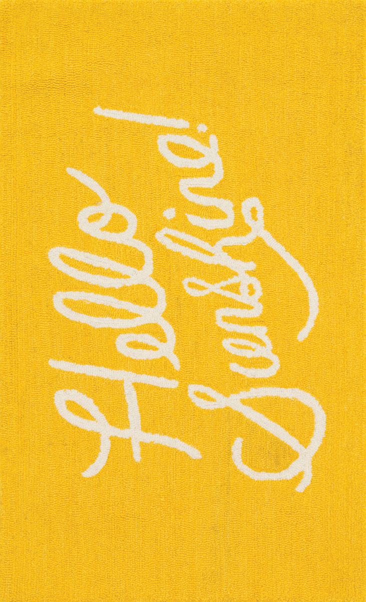 "Hello Sunshine Rug. From Rifle's cheeky sense of humor and an explosion of color, choose strikingly bold designs on plush backdrops in sturdy Loloi fabrics to add verve to any setting. ""I love considering how they will be used in the home and designing pieces that are both colorful and playful but also livable,"" the artist says."