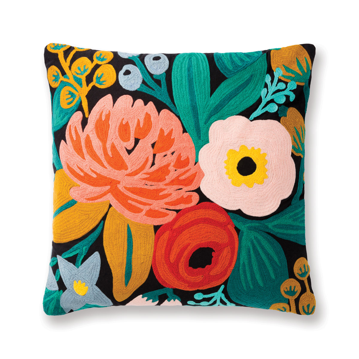 "Floral throw pillow. From Rifle's cheeky sense of humor and an explosion of color, choose strikingly bold designs on plush backdrops in sturdy Loloi fabrics to add verve to any setting. ""I love considering how they will be used in the home and designing pieces that are both colorful and playful but also livable,"" the artist says."
