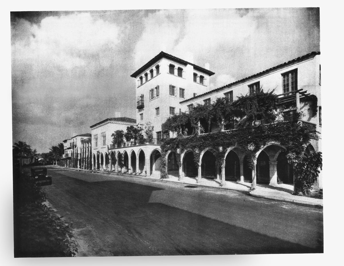 Villa Mizner, Addison Mizner's iconic five-story walkup off Worth Avenue in Palm Beach, was built in 1924 in true Mizner style with its stone and white stucco exterior, and wrought-iron balconies. (1930) courtesy of William Helburn, Inc., Publisher
