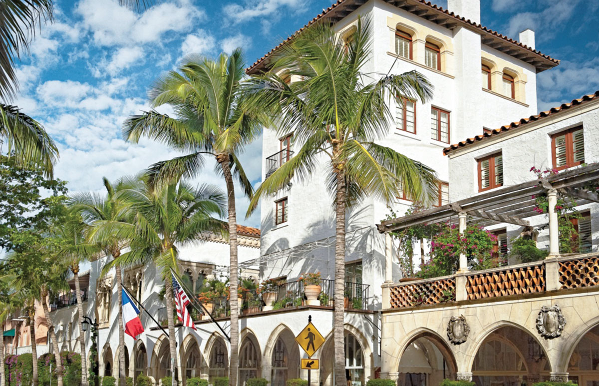 Villa Mizner, Addison Mizner's iconic five-story walkup off Worth Avenue in Palm Beach, was built in 1924 in true Mizner style with its stone and white stucco exterior, and wrought-iron balconies. (2013) by Merritt Hewitt.