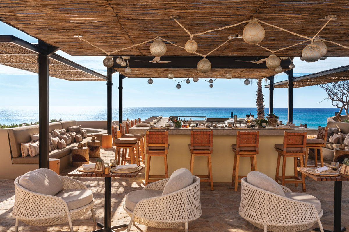 The Equis bar is situated at an elevation to allow panoramic views of the Sea of Cortez.
