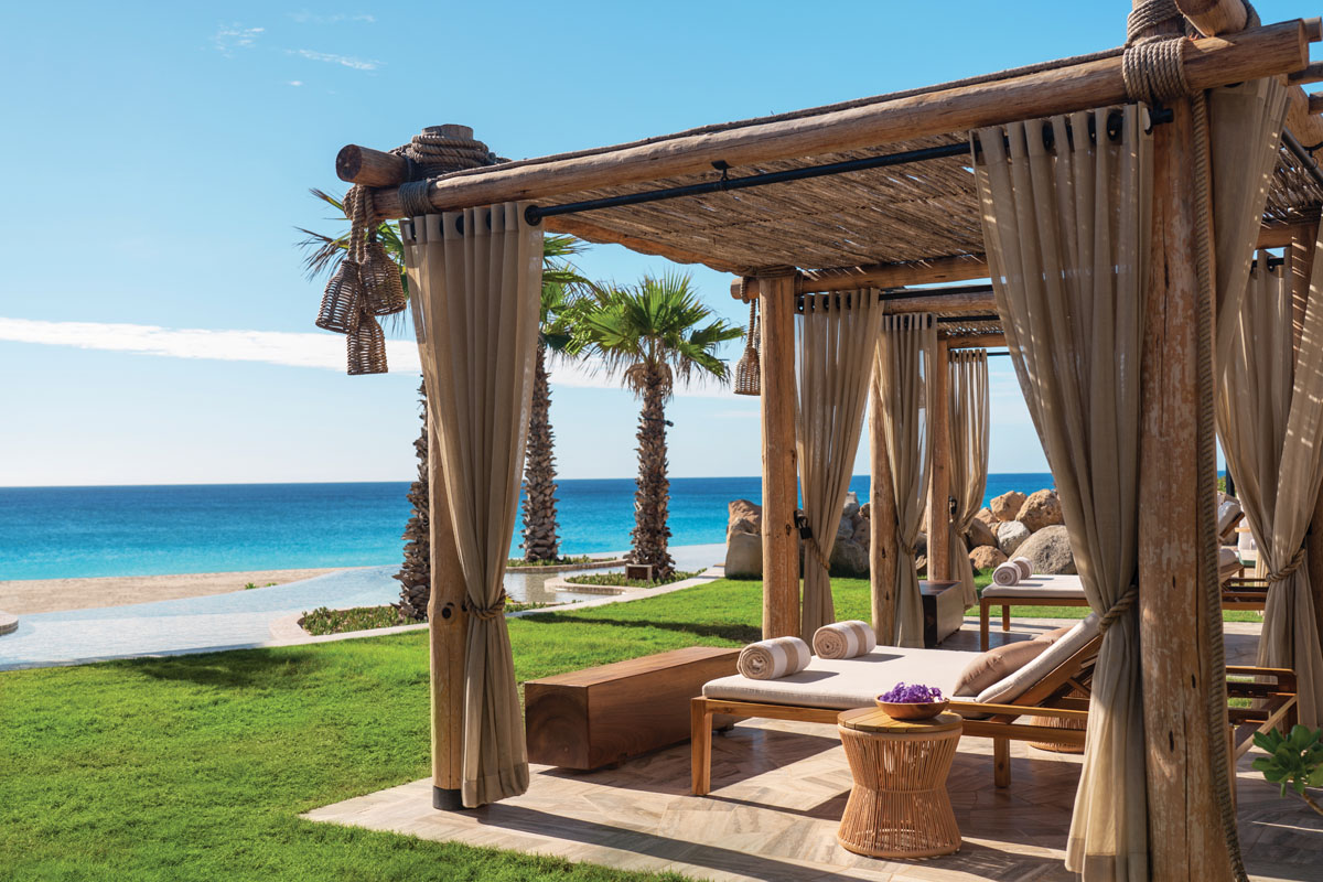 """The adults-only sanctuary Equis, at the edge of the dunes, is a riff on the """"X"""" that marks the spot — in this case, a relaxed setting to dine, imbibe and soak in the sun."""